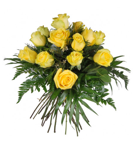 Bouquet of 12 yellow roses