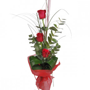 Three decorated red roses