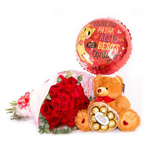 Flowers, Teddy, Chocolates And Balloon