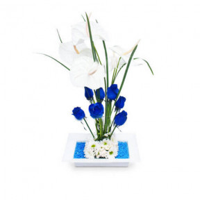 Arrangement With Blue Flowers-1