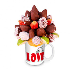 Fruit Arrangement Of Strawberries With Chocolate
