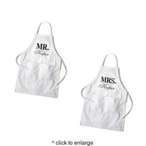 Personalized Couples White Apron Set