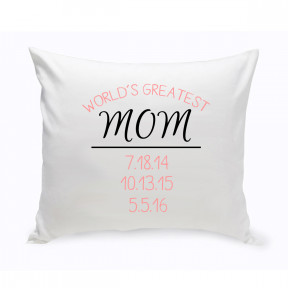 Personalized World's Greatest Mom Throw Pillow