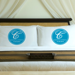 Personalized Topaz Blue Magical Monogram Pillow Case Set