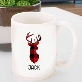 Personalized Red and Black Plaid Deer Coffee Mug