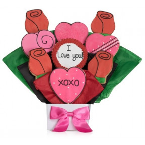 Lovely Hearts 5 Cookie Bouquet (7 Cookies)