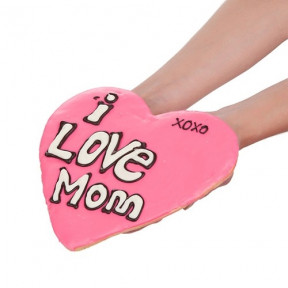 Giant Love Mom Heart Shaped Sugar Shortbread Cookie