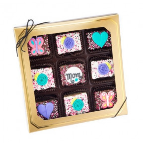 Mother's Day Chocolate Dipped Mini Crizpy - Window Gift Box Of 9