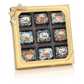 Father's Day Chocolate Dipped Mini Crizpy - Window Gift Box Of 9