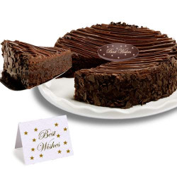 Triple Chocolate Enrobed Brownie Best Wishes Cake