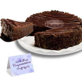 Triple Chocolate Enrobed Brownie Congratulation Cake