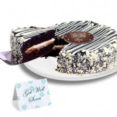 "Black and White Mousse ""Get Well Soon"" Cake"