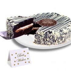 "Black and White Mousse ""Best Wishes"" Cake"