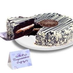 Black and White Mousse Congratulation Cake
