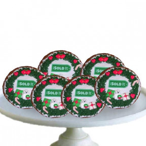 Hand Decorated Wreath Cookie Personalized, each