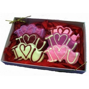 Hand Decorated &I Love You& Cookies Gift Box