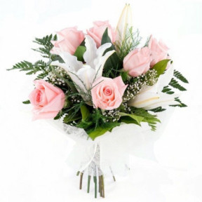 Bouquet of roses and lilies - Tenderness