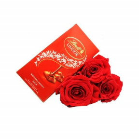 Red roses and Lindt chocolate