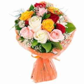 Bouquet of 13 multicoloured roses