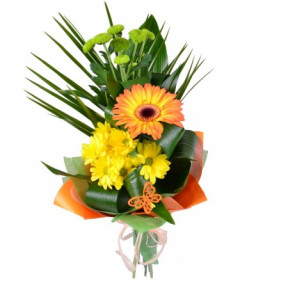 Bouquet of one gerbera and chrysanthemums