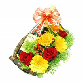 Gerberas and Champagne Basket