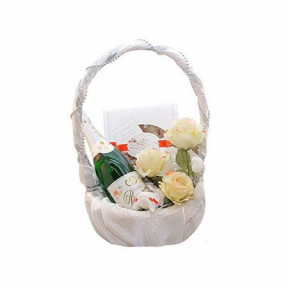 White basket with gifts