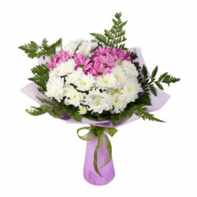 Bouquet of White and Pink Chrysanthemums