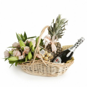 Basket with Flowers, Pineapple and Gifts