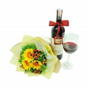 Bouquet of Gerberas and Wine