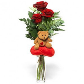 Bouquet - Roses and Teddy Bear