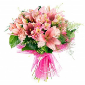 Bouquet of lilies and carnations