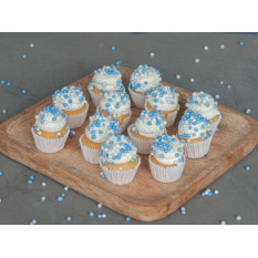 Mini Baby Blue Birth Order Cupcakes