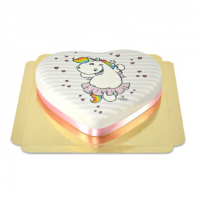 Chubby Unicorn On Heart Cake (Medium)