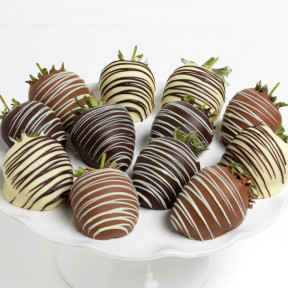 Triple Chocolate Covered Strawberries (12 Strawberries)