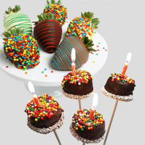 Happy Birthday Strawberries & Brownie Pops