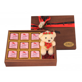 Wood Box With 9 Dark Chocolates And A Teddy Bear