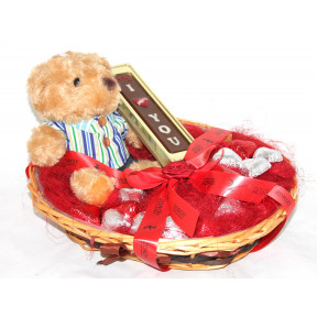 The Romance Him Gift Hamper With 7 Inch Teddy Bear, I Love You Bar, And 15 Milk Chocolate Hearts