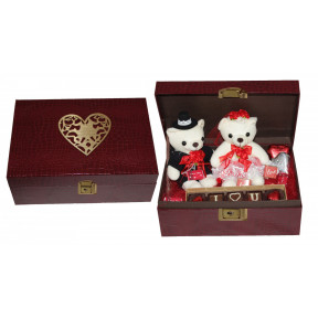 Couple Love Hamper- Pair of teddies and chocolates in Leather Hamper box