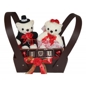 The Perfect Couple Hamper- Teddies And A Box With Ilu Chocolates
