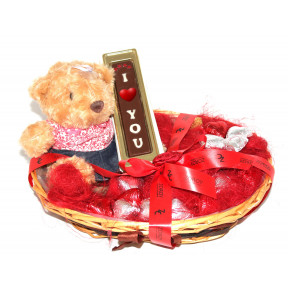 The Romance Her Gift Hamper With 7 Inch Teddy Bear, I Love You Bar, And 15 Milk Chocolate Hearts