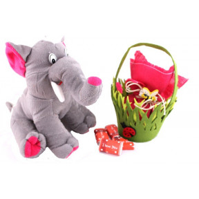 A Cute Elephant with a basket of 20 I Love You chocolates