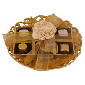 Gold carved plate with 6 assorted chocolates