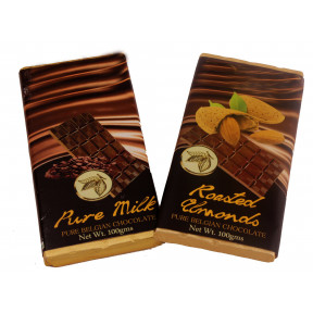 Milk Doubles- Set of 2 pieces of Pure Belgian Milk chocolate and Roasted Almonds bar