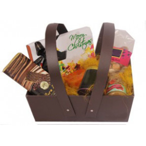 Leather finish Basket with assorted goodies