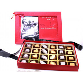 Chic Red Personalised Box with 24 chocolates