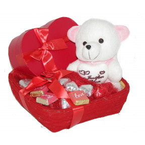 Darling Hamper with a heart box of chocolates, teddy bear and other assorted chocolates