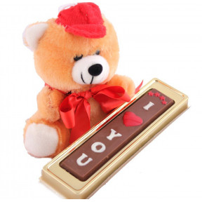 Small Teddy Bear with I Love You chocolate Bar