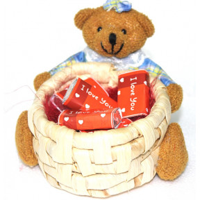 Teddy Basket With I Love You Wrapped Chocolates