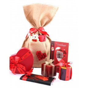 Love Bag Extra Large With Card, Chocolates, Bar, Teddy, Heart Chocolate, Candle And Much More