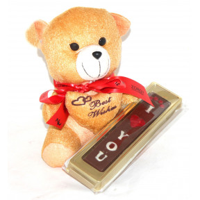 Teddy With I Love You Chocolate Bar